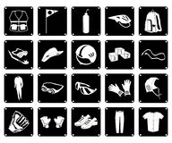 Collection of Sport Accessory Icons on White Background Stock Photos