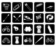 Collection of Sport Equipment Icons on White Background Royalty Free Stock Images