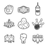 Collection of sport icons. Sport equipment. Vector icons set isolated on white background Stock Image