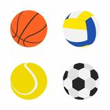 Collection of Sports Balls. Set Balls in Flat dasing style  on white background. Collection of Sports Balls: Basketball, Volleyball, Tennis, Football or Soccer Royalty Free Stock Photography