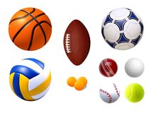 Collection of Sports Balls Royalty Free Stock Image