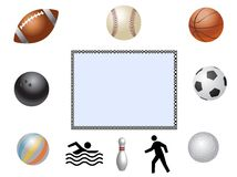 Collection of sports items, ball Stock Image