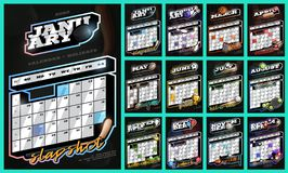 Collection of sports wall calendar for 2020. Retro style calendar template with holidays with different sports and equipment.