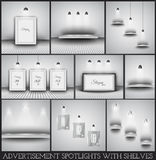 Collection of spotlights and shelves for product advertisement. Shop simulations, item promotions, packaging show and so on Royalty Free Stock Images