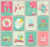 Collection of 12 Spring card templates. Spring Posters set. Vector illustration. Template for Greeting Scrapbooking, Congratulations, Invitations stock illustration
