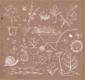 Collection of spring doodle sketch elements Royalty Free Stock Photo