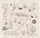 Collection of spring doodle sketch elements Stock Images