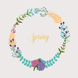 Collection of spring flowers, leaves, dandelion, grass. Royalty Free Stock Photos