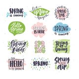 Collection of spring or springtime lettering handwritten with artistic calligraphic fonts and decorated by natural Stock Image
