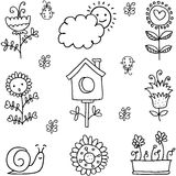 Collection of spring theme doodles Stock Image