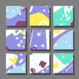 Backgrounds with abstract dynamic pattern. Collection of square backgrounds with bright abstract drawings. Dynamic compositions with chaotic strokes, stains and Stock Images