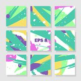 Backgrounds with abstract dynamic pattern. Collection of square backgrounds with bright abstract drawings. Dynamic compositions with chaotic strokes, stains and Royalty Free Stock Photo