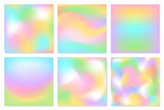 Collection of square blurred soft colorful easter spring fresh smooth pink blue green yellow white colors smooth gradient flow te. Xture backgrounds design set Stock Illustration