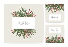 Collection of square card templates with ferns, wild herbs, green herbaceous plants, ilex or holly berries and wishes. Handwritten with cursive font. Gorgeous Royalty Free Stock Photo