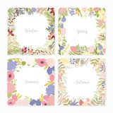 Collection of square card templates with various season names and frames made of beautiful wild blooming flowers stock illustration