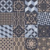 Collection of square ceramic tiles with various geometric and traditional oriental patterns. Set of decorative ornaments. Ornamental weaving textures, floral vector illustration