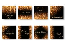 Collection of square Christmas backgrounds. A collection of square postcards with golden rays and shiny sparkles for Christmas decoration. Festive backgrounds Stock Photos