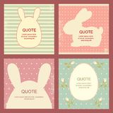 Collection of square Easter backgrounds in retro style. Set of square Easter banner, background, flyer, placard in vintage style. Poster and sticker for Royalty Free Stock Photo