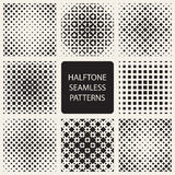 Collection of square halftone seamless geometric patterns Royalty Free Stock Images