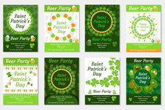 Collection of St. Patrick`s Day invitation, poster, flyer. Beer Party set a template for your design with clover Royalty Free Stock Images