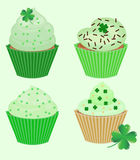 Collection of St. Patricks cupcakes Royalty Free Stock Photos