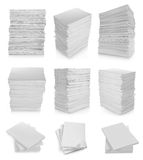 Collection of stack paper. In white background Stock Photos