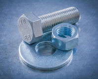 Collection of stainless bolt washer screwbolt screw-nut on metal Stock Image
