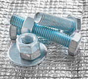 Collection of stainless repairing objects on metal background ma Stock Image