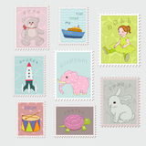 Collection of stamp. With child's toys vector illustration