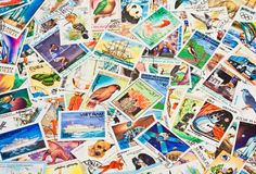Collection of stamps. Randomly fill frame Stock Photography