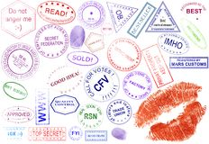 Collection of stamps. Seals and imprints non-existent in reality. Here are humorous stamps, abbreviations, reductions and slogans. All is done by myself Royalty Free Stock Images