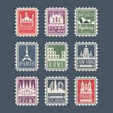Collection of stamps from different countries with architectural landmarks, vector Illustrations, city stamps with Stock Photo