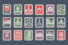 Collection of stamps from different countries with architectural landmarks, vector Illustrations, city stamps with stock illustration