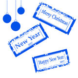 Collection stamps : Merry Christmas, New year vector illustration