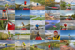 Collection of stand up paddling (SUP) pictures Royalty Free Stock Image