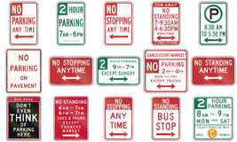 Collection of standing and parking restriction signs used in the USA Royalty Free Stock Photo