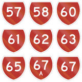 Collection of state highway shields in New Zealand Stock Image