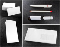 Collection of stationery. White collection of stationery on background leather texture Royalty Free Stock Image