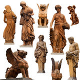 Collection of statues. Set of statues isolated on white background royalty free stock image
