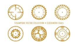 Steampunk Collection Isolated - Clockwork Dials stock illustration