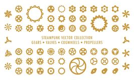 Steampunk Collection Isolated - Gears, Valves and Propellers stock illustration