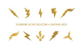 Steampunk Collection Isolated - Lightning Bolts vector illustration