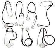 Collection stetoskop on white background. Collection of stethoscope on white background Stock Photos