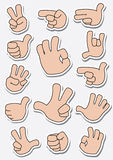 Collection of sticker gestures stock photo