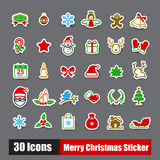 Collection of 30 sticker merry christmas icons set. Vector illustration eps10 Stock Images