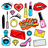 Collection of stickers and badges in 80s comic style. Such as lips, heart, speech bubbles, cosmetics and other elements. Vector illustration isolated on white Royalty Free Stock Photography