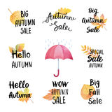 Collection of stickers big autumn sale. Stock Photos