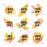 Collection of stickers big autumn sale. Watercolor vector illustration with colored leaves and hand lettering on a white background. Colorful discount elements Stock Image