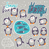 Collection of stickers with cute cartoon funny penguins Royalty Free Stock Images