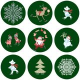 Collection of stickers with cute Santa Claus, polar bears, little raccoons, reindeer, snowman, snowflakes and christmas tree. Collection of stickers with cute Royalty Free Stock Photo